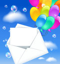 Open envelope with balloons colorful Stock Images