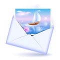 Open envelope card image sailboat Royalty Free Stock Images