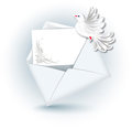 Open envelope and dove with paper for text Royalty Free Stock Photos