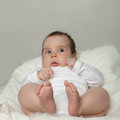 Open-eyed baby - surprised small child Royalty Free Stock Photo