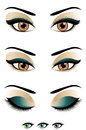 Open eyes to closed vector illustration of and different eye colors choose Stock Images