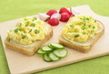 Open face egg salad sandwich Royalty Free Stock Images