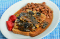Open face sandwich with pork tenderloin in mushroom and wine sauce over toast with beans and pickled peppers Stock Photography
