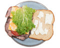 Open faced sandwhich plate isolated pure white background sandwich made roast beef colby jack cheese lettuce tomato mayonaise Stock Image