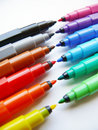 Open felt-tip pens (markers) Stock Photos