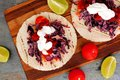 Open fish tacos with red cabbage lime slaw and salsa Royalty Free Stock Photo