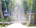 Open font in the sun holy spring st sergius of radonezh waterfall gremyachiy key Stock Photo