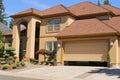 Open garage door in suburban family home Stock Photo