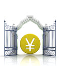 Open gate with yen or yuan coin illustration Royalty Free Stock Image