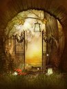Open gates in the fairytale wood fantasy artwork Royalty Free Stock Images