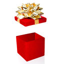 Open gift box isolated on white background red Stock Photos