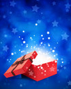 Open gift box with light insideout Royalty Free Stock Photos