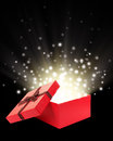 Open gift box with light insideout Royalty Free Stock Images
