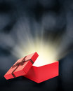 Open gift box with light insideout Stock Photography