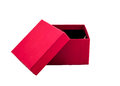 Open gift box opened red present isolated in white background with clipping path Royalty Free Stock Photography