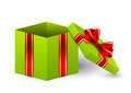 Open gift box with ribbon Royalty Free Stock Photography