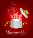 Open gift box with ribbon and magic light fireworks vector illustration Royalty Free Stock Images