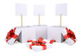 Open gift boxes with white labels Stock Photos
