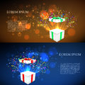 Open gift with fireworks from confetti. vector