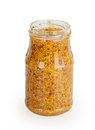 Open glass jar grainy mustard isolated on white background Stock Images