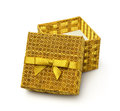 Open golden gift box Royalty Free Stock Photo