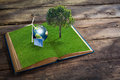 Open grass book with tree on wood background wind turbine solar cell and earth elements of this image furnished by nasa Royalty Free Stock Images
