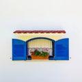 Open greek blue window Royalty Free Stock Photo