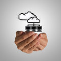 Open hand holds pixel cloud network sign Royalty Free Stock Photo