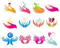 Open hands colorful hand designs with different symbols Stock Photography