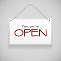 Open hanging sign board on the white wall vector illustration Royalty Free Stock Photography