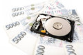The open hard disk with czech money banknotes concept backup data cost Stock Image