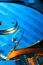 Open hard drive in blue light Royalty Free Stock Photo