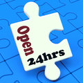 Open hours puzzle shows all day hr service showing Royalty Free Stock Photo