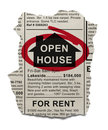 Open house real estate ad circled with red marker isolated on white background Royalty Free Stock Photo