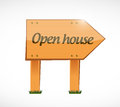 Open house wood sign concept illustration design over white background Royalty Free Stock Image