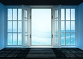 Open interior doorway to cold winter landscape at snowfall illustration Stock Images