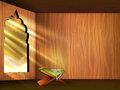 Open islamic religious holy book quran shareef on shiny rays background for month of ramadan kareem Stock Photos