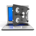Open laptop safe. Royalty Free Stock Image