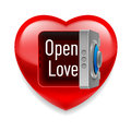 Open love image shiny red heart with safe door and message inside Stock Images
