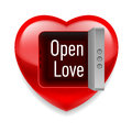 Open love image shiny red heart with vault door and text inside Stock Image
