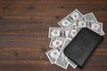 Open Male Black Leather Wallet With One Dollar Bills Royalty Free Stock Photo
