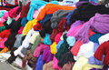 Open market in otavalo ecuador a colorful display of hand woven and dyed yarns offered for sale by an ecuadorian vendor the of the Royalty Free Stock Images