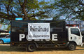 Open market zone of red cross fair mahasarakham january police truck is parking as temporary prison for ruffians at on january in Stock Photography