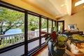 Open modern luxury home interior living room wth balcony window wall. Royalty Free Stock Photo