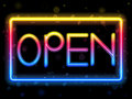 Open Neon Sign Rainbow Color Stock Photos