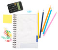 Open notebook with stationery and calculator Royalty Free Stock Photo