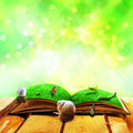 Open old book magic animals Royalty Free Stock Photo