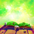 Open old book magic animals spring Royalty Free Stock Photo