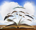 Open old book page on wood table with flying book page against b Royalty Free Stock Photo