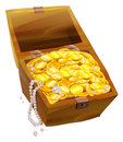 Open old chest with gold coins and pearls. Pirate Treasure Chest Royalty Free Stock Photo